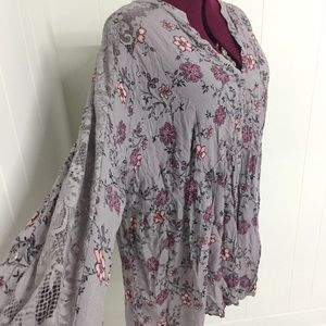 5XL TORRID Purple Floral Shirtdress with Lace